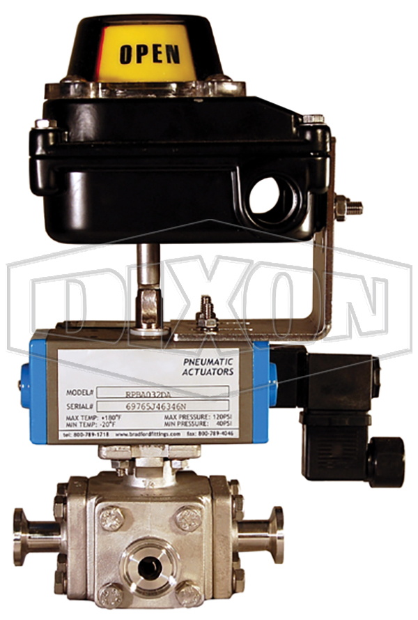 Multi-Port Hygienic Ball Valve with Actuator