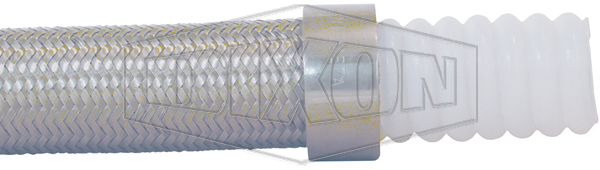 Helically Convoluted PTFE Tube with Stainless Steel Braid