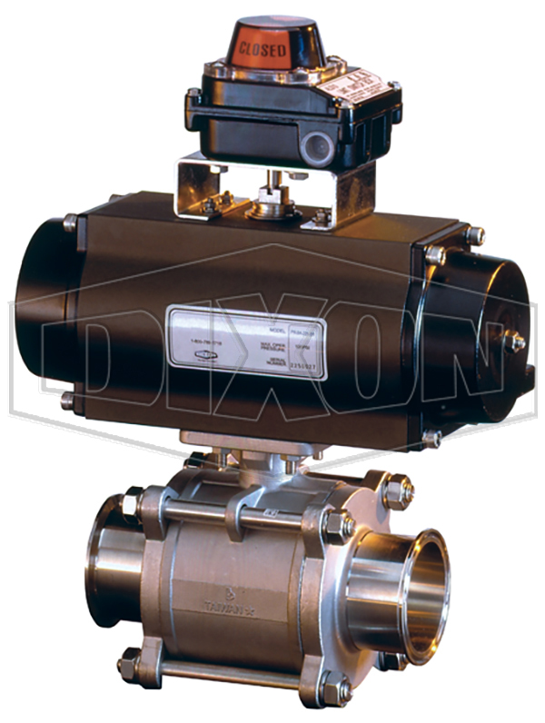 3 Piece Stainless Steel Automated Hygienic Ball Valve