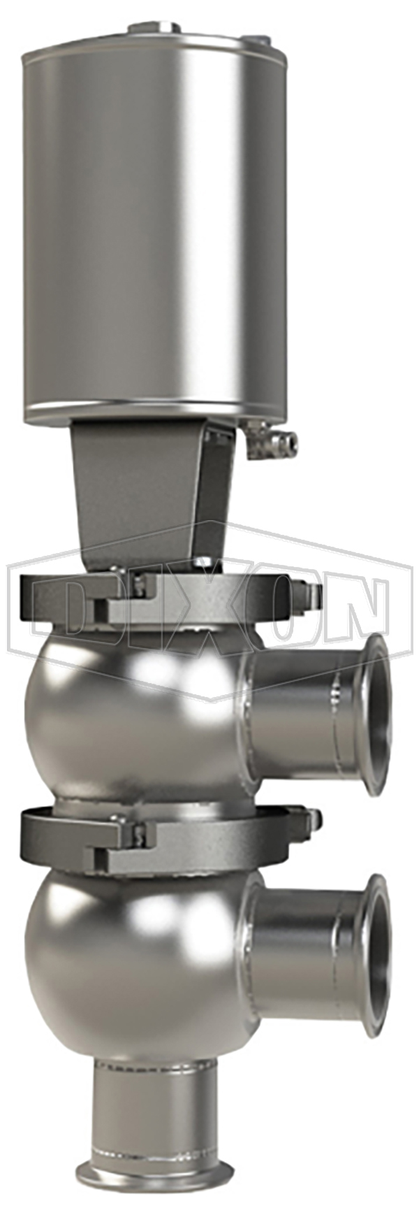 SSV Series Single Seat Valve, Divert F Body, Clamp, Spring Return Actuator (Air-To-Raise)
