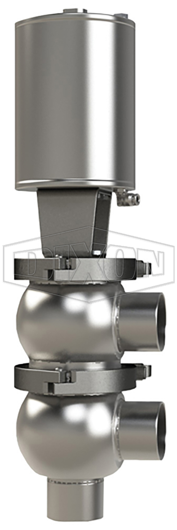 SSV Series Single Seat Valve, Divert F Body, Weld, Spring Return Actuator (Air-To-Raise)