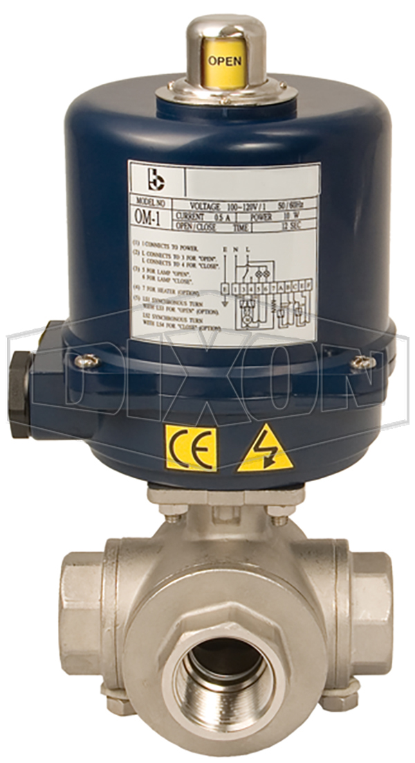 electrically actuated 3 way ball valves t and l port