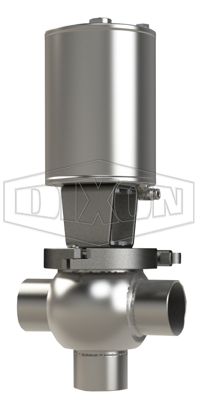 SSV Series Single Seat Valve, Shut-Off T Body, Weld, Spring Return Actuator (Air-To-Lower)