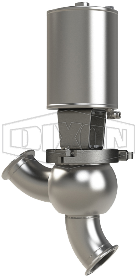 SSV Series Single Seat Valve, Shut-Off Y Body, Clamp, Spring Return Actuator (Air-To-Raise)