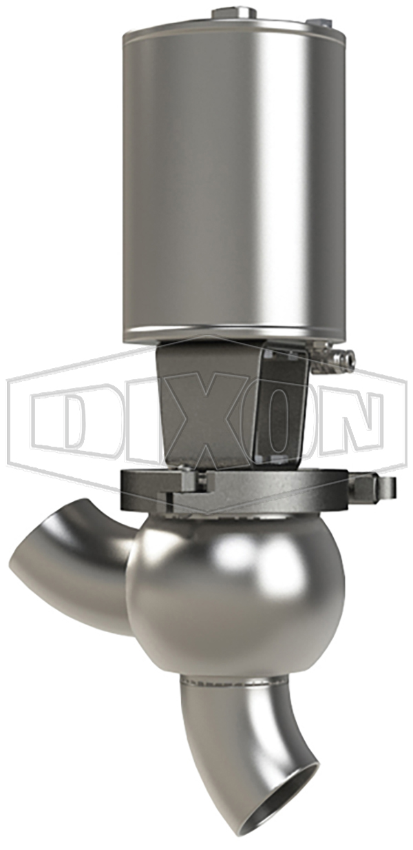 SSV Series Single Seat Valve, Shut-Off Y Body, Weld, Spring Return Actuator (Air-To-Raise)